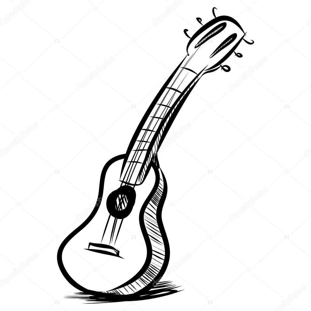 1024x1024 Acoustic Guitar Fast Sketch Stock Vector Chuhail