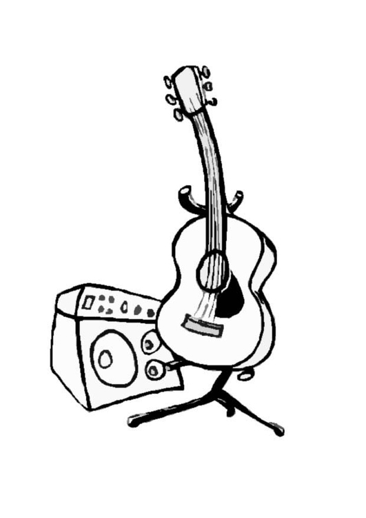 531x750 Coloring Page Guitar And Amp