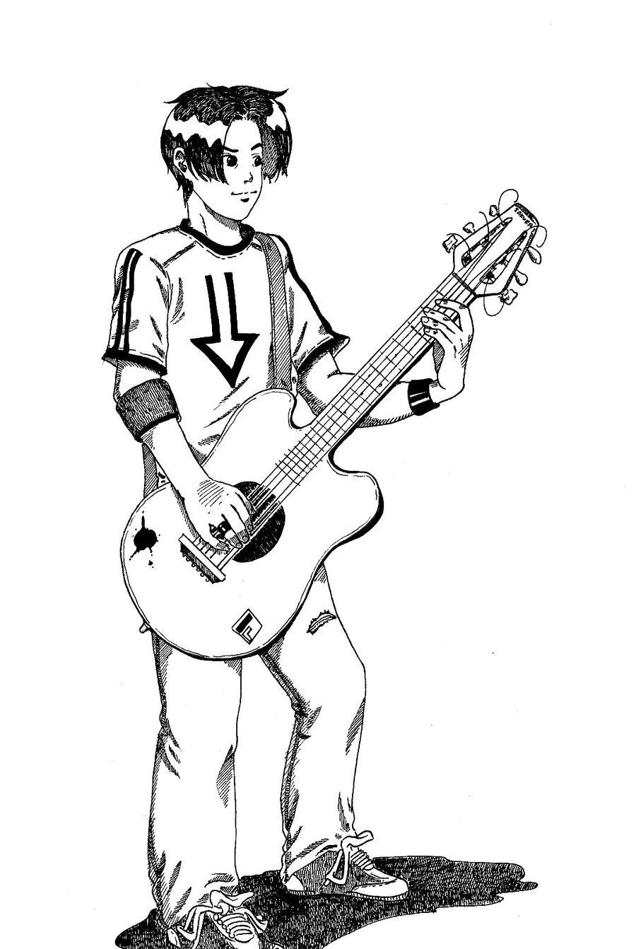 900x1342 Cute Boy Sketch With Guitar Cute Boy Sketch With Guitar Guitar