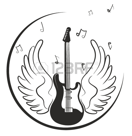 436x450 Electric Guitar Drawing With Wings And Notes. Royalty Free