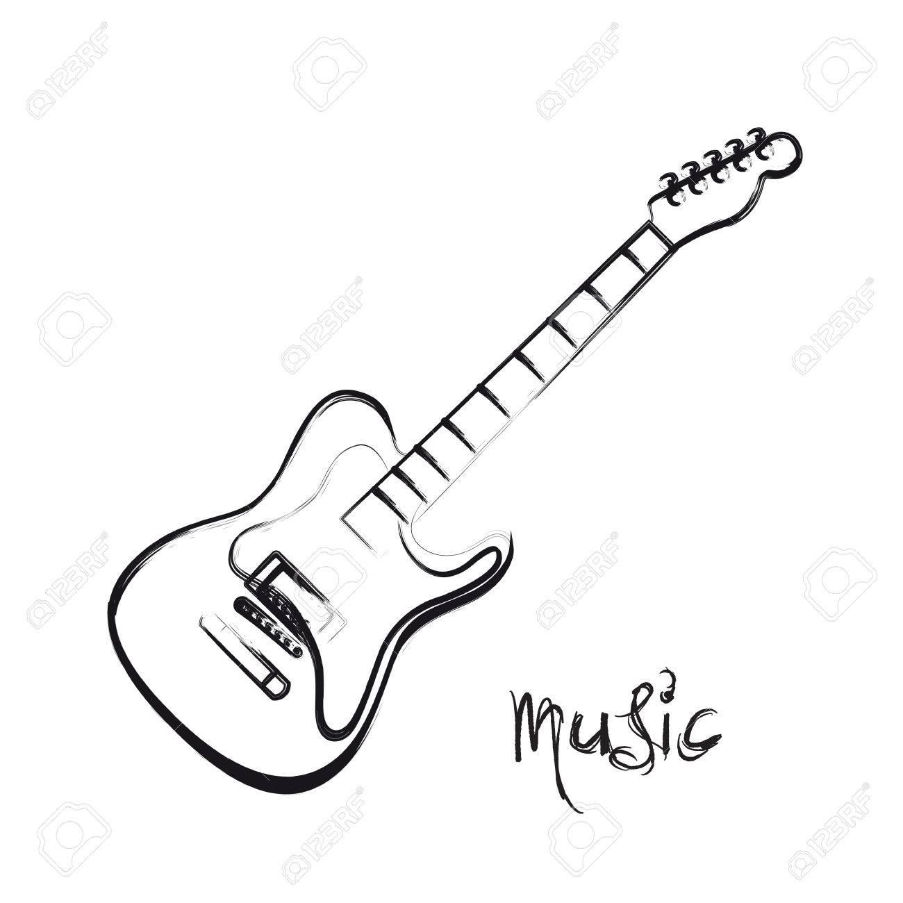 1300x1300 Electric Guitar Hand Drawn, Easy All Editable Royalty Free