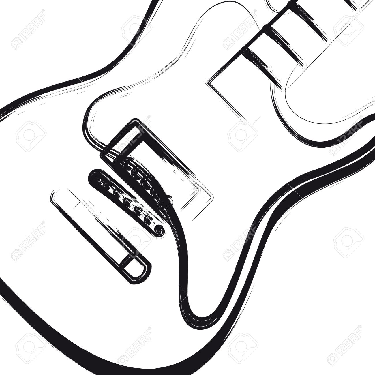 1300x1300 Electric Guitar Hand Drawn, You Can Easy All Editable Royalty Free