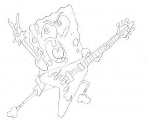 302x260 How To Draw How To Draw Spongebob Rocker