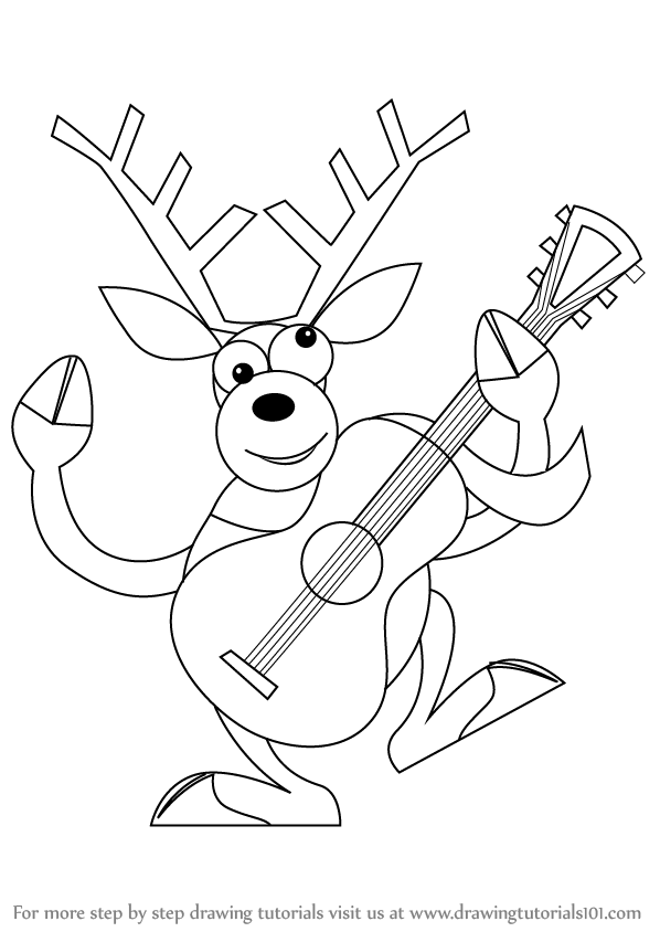 598x844 Learn How To Draw A Reindeer With Guitar (Christmas) Step By Step