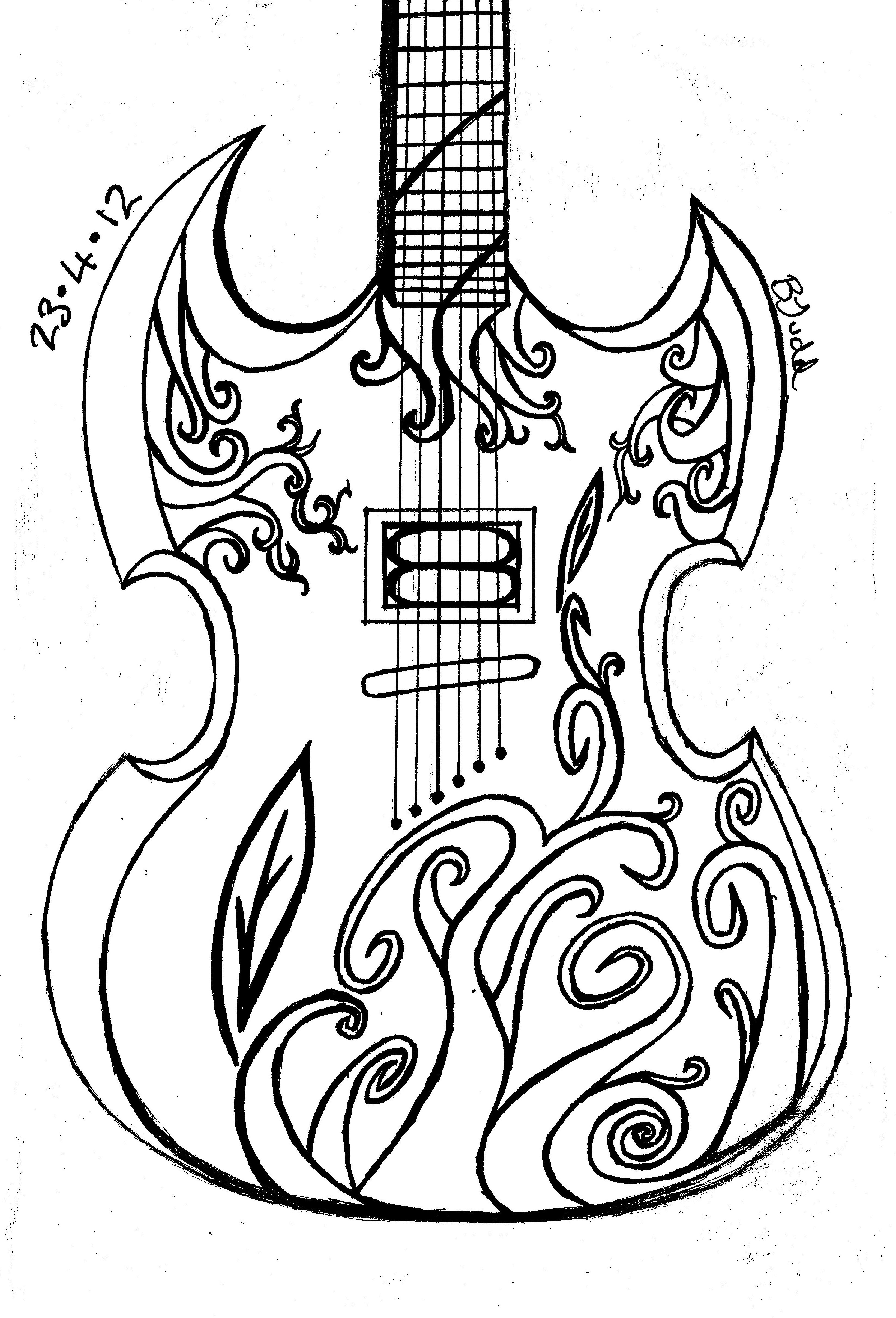 3285x4826 Big Guitar Outline Drawing Collection