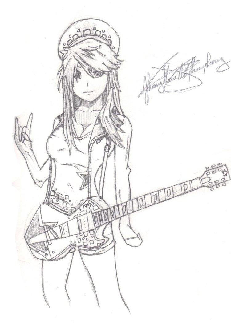 750x1065 Drawn Guitar Anime Music Guitar