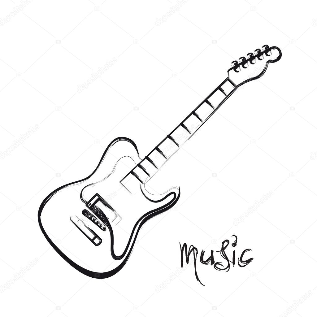 1024x1024 Electric Guitar Hand Drawn, Easy All Editable Stock Vector