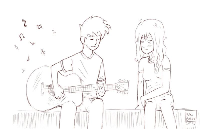 800x518 Guitar (Inked Sketch) By Pskibobby