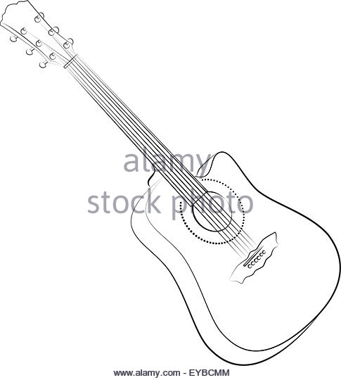 485x540 Acoustic Guitar Sketch Stock Vector Images