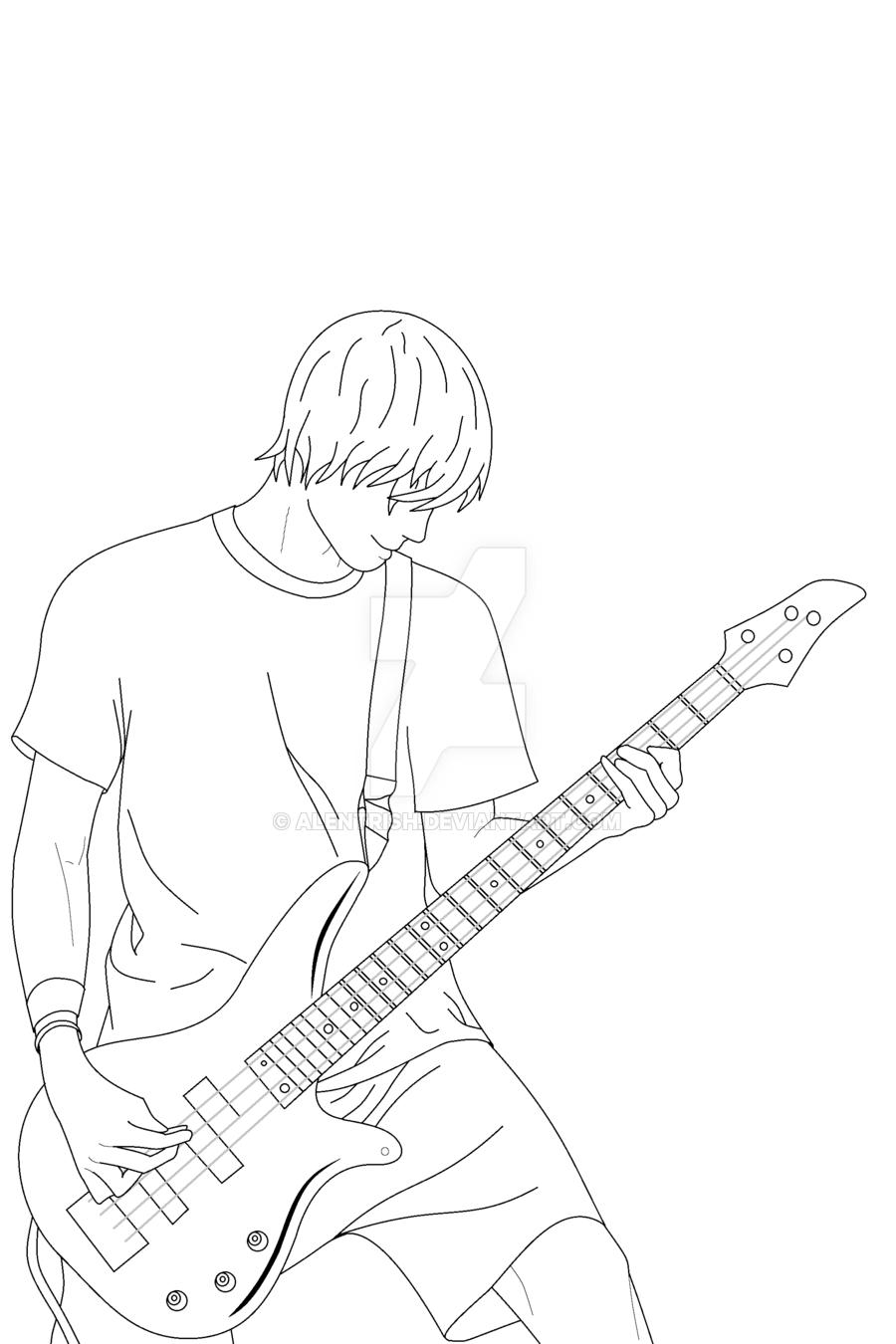 900x1350 Guitar Boy Lineart By Alentrish