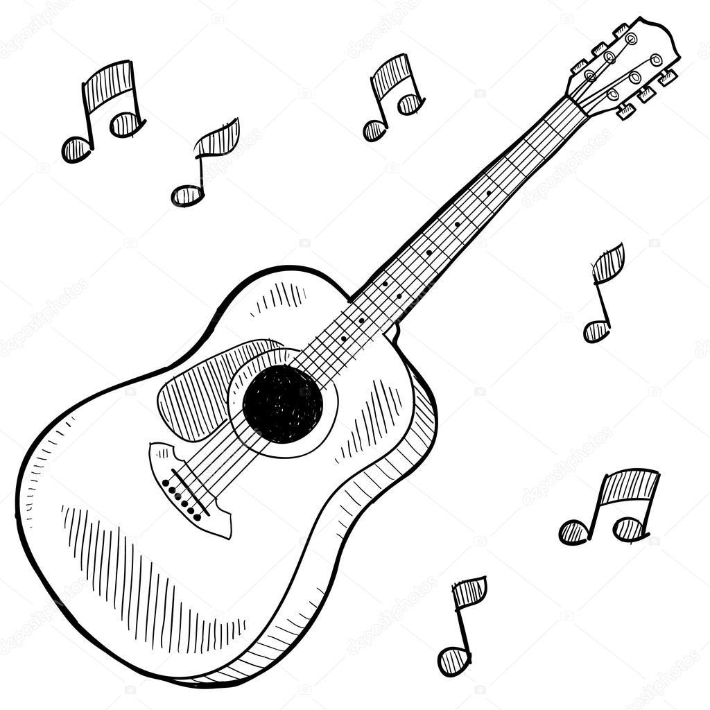 1024x1024 Acoustic Guitar Sketch Stock Vector Lhfgraphics