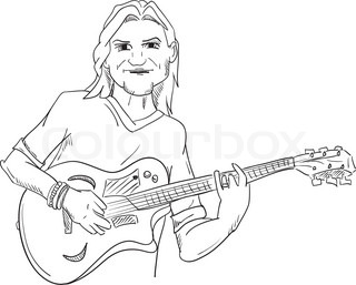 320x257 Sketch Of A Girl Playing On An Acoustic Guitar Stock Vector