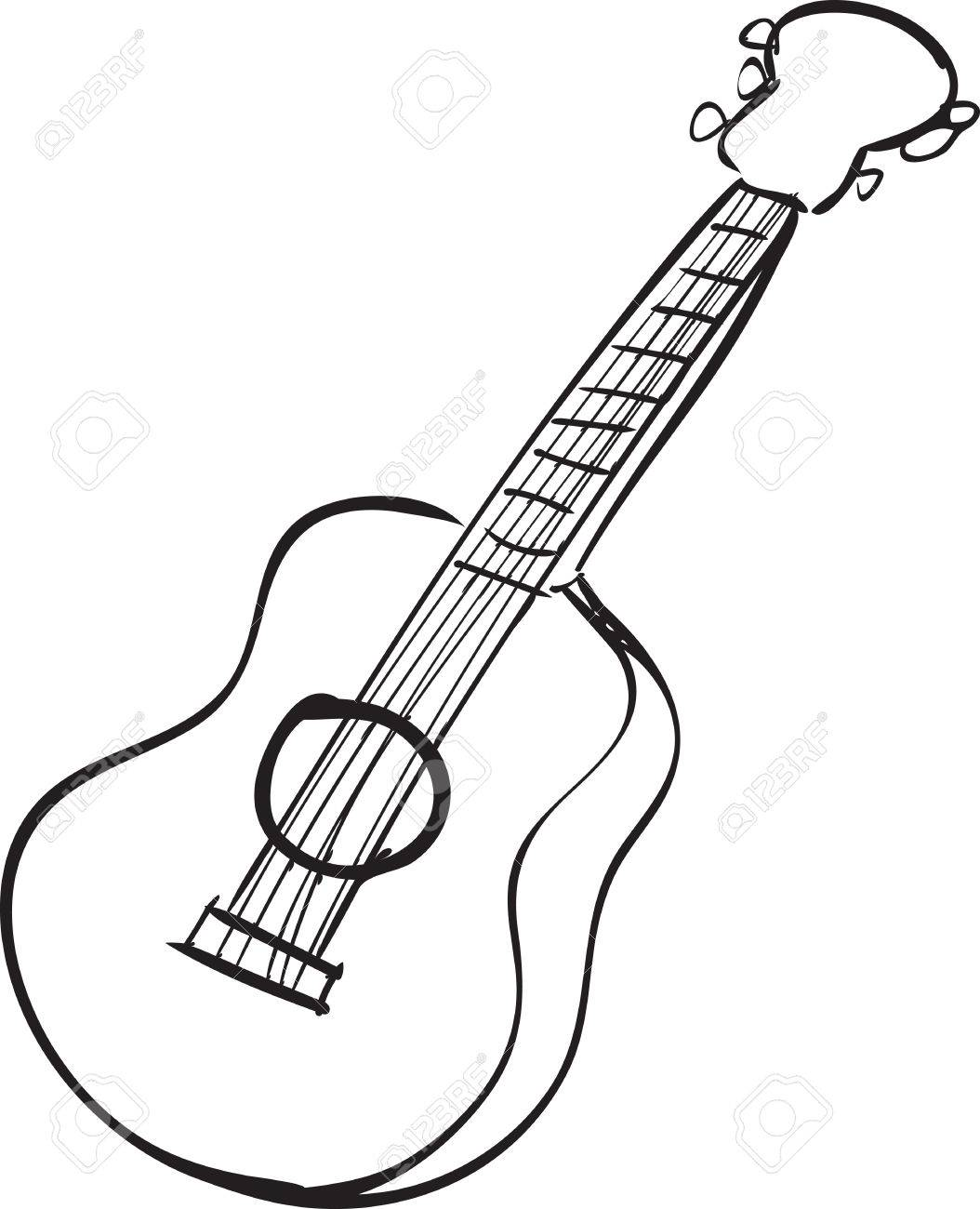 1054x1300 Vector Illustration Of Guitar In Black And White Doodle Sketch