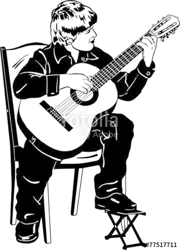 361x500 Vector Sketch Of A Boy Playing Music On A Guitar Stock Image