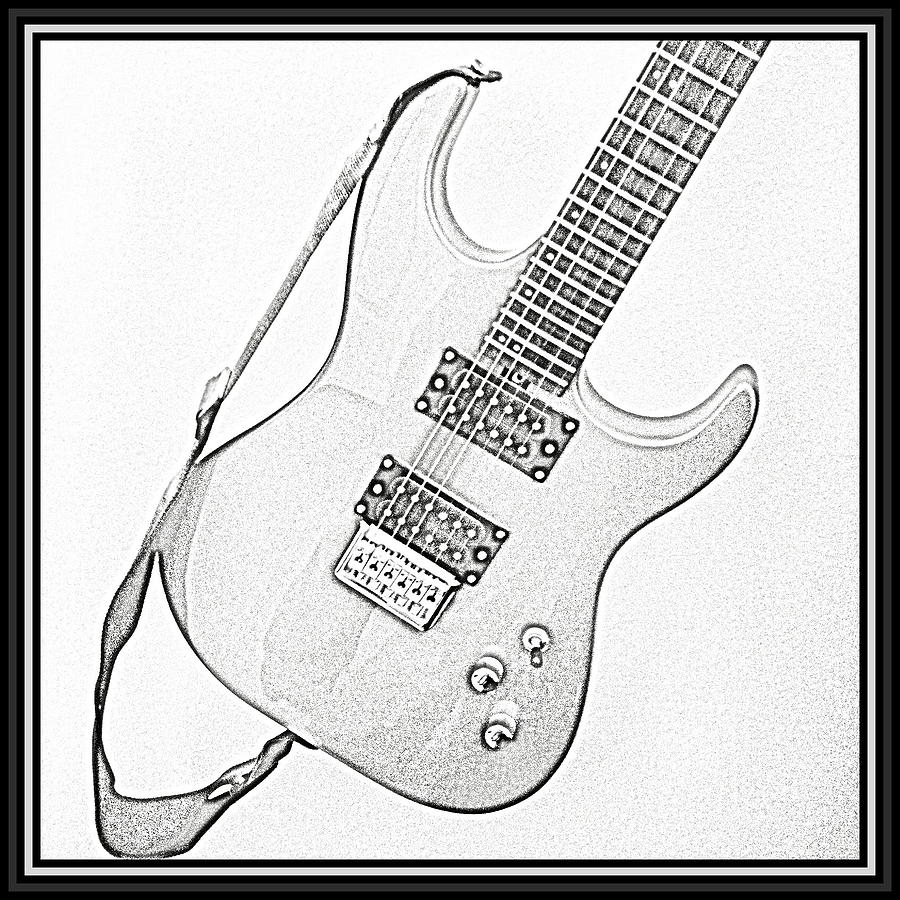 900x900 Black And White Guitar Sketch Photograph By Marie Naturally