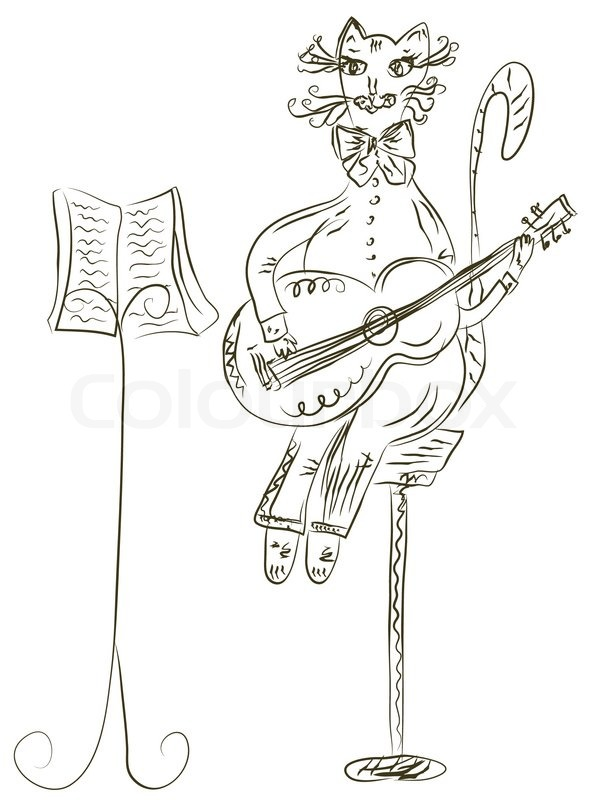600x800 Cat Playing Guitar Sketch Stock Vector Colourbox