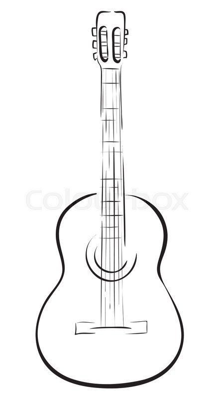 440x800 Classical Acoustic Guitar. Vector Monochrome Freehand Linear Ink