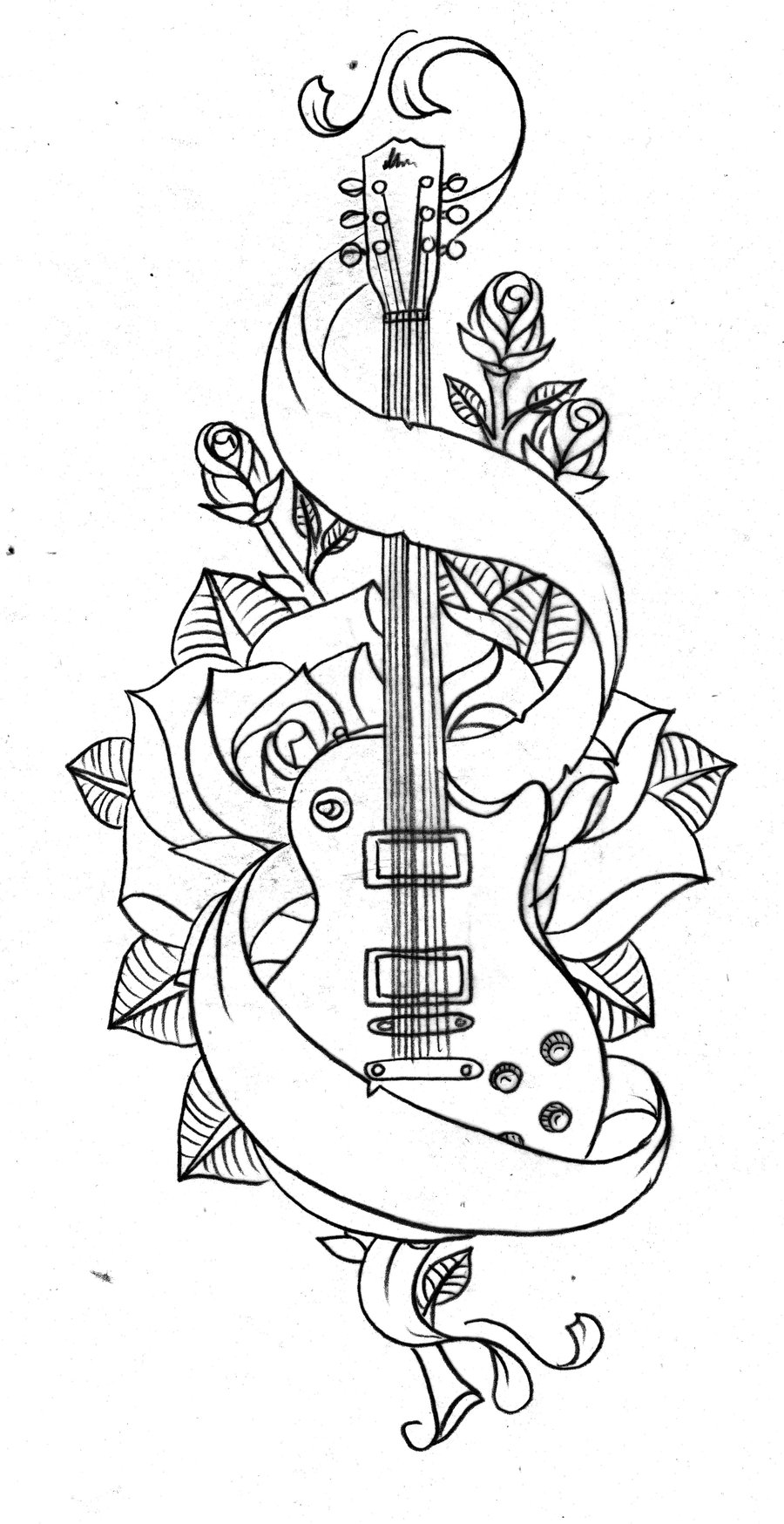 900x1748 Old School Guitar By Nevermore Ink On DeviantArt
