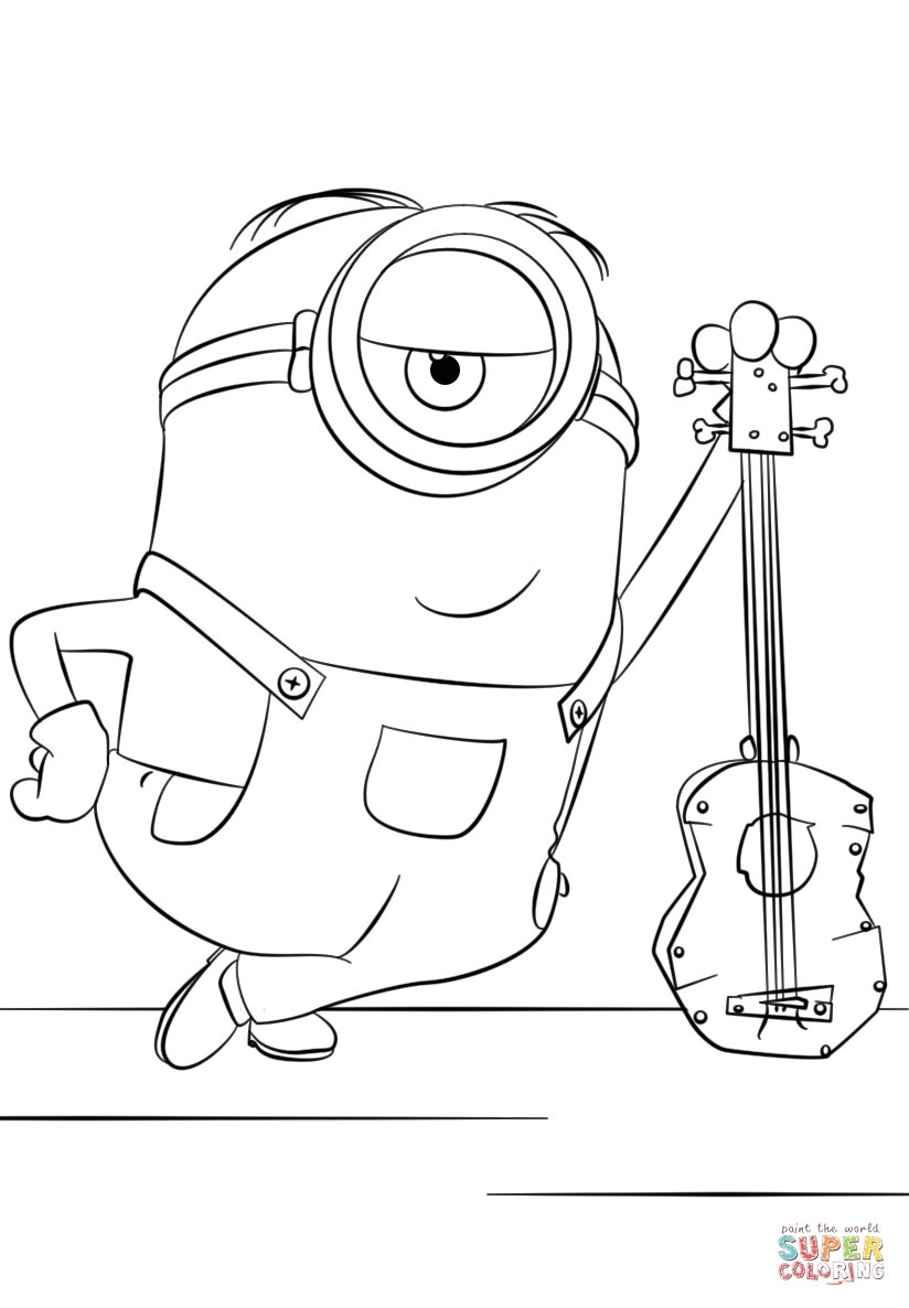 824x1186 Minion Stuart With Guitar Coloring Page Free Printable Coloring