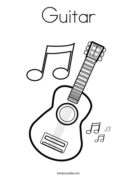468x605 Practical Guitar Coloring Page Twisty Noodle