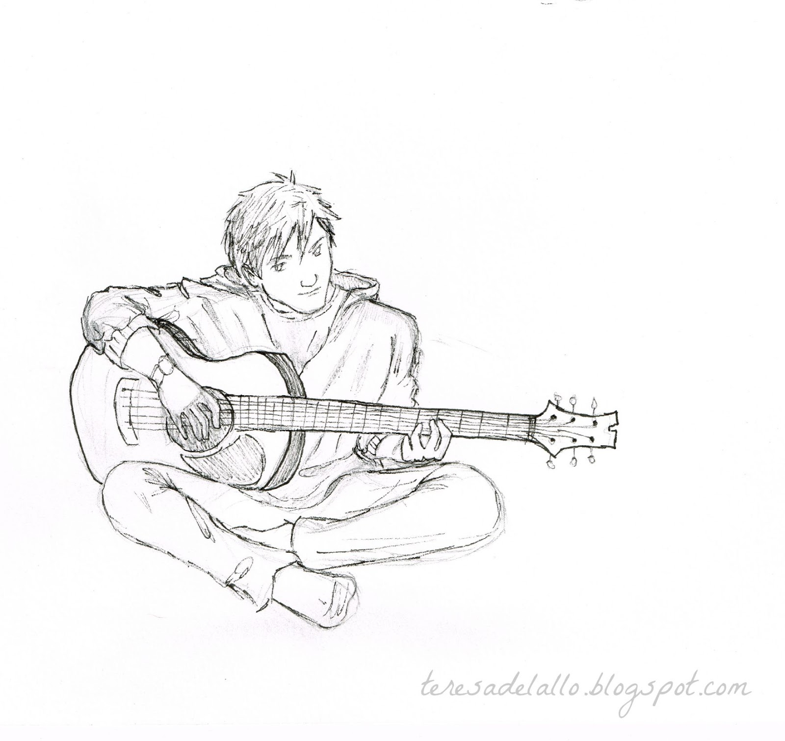1600x1511 Sad Boy Pencil Draw Image With Guitar Sad Boy Guitar Pencil Sketch