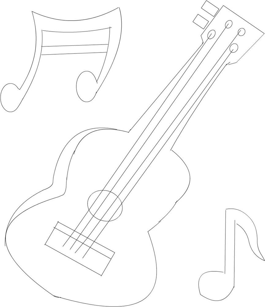 865x1000 Guitar Printable Coloring Page For Kids