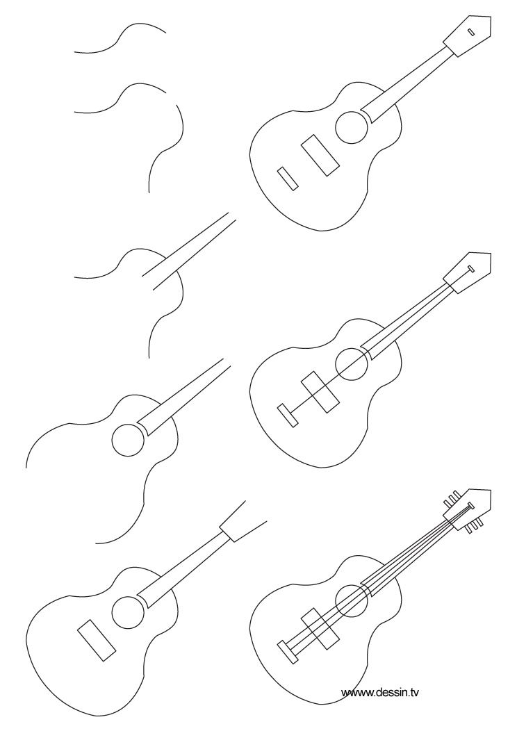 744x1052 Learn How To Draw A Guitar With Simple Step By Step Instructions