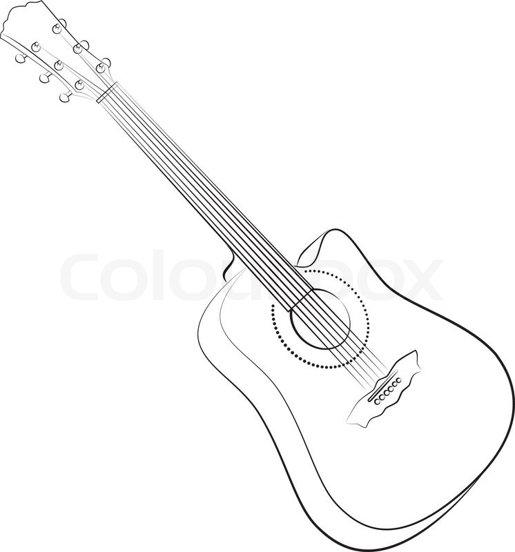 Guitar Line Drawing At Getdrawings Com