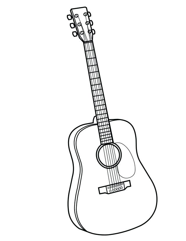 640x828 Bass Guitar Music Coloring Pages Adult Bass Guitar Outline