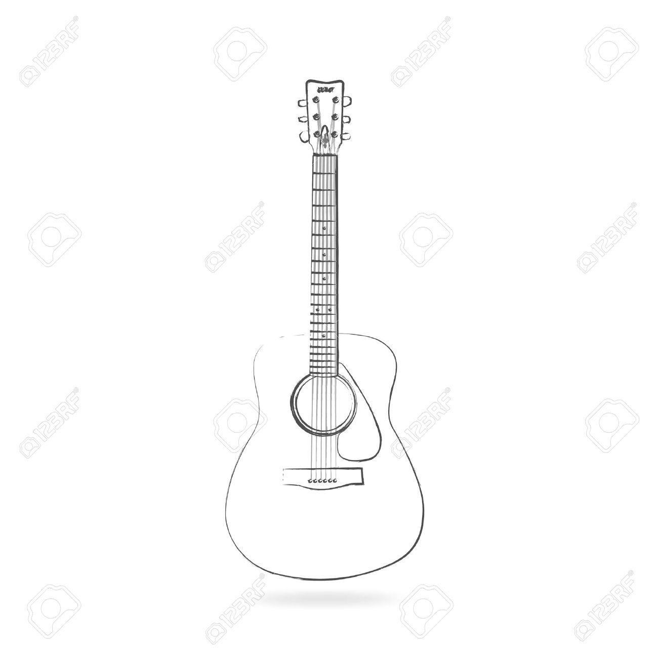 1300x1300 Drawing Of An Acoustic Guitar Isolated On A White Background
