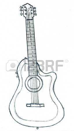 255x450 Grunge Textured Monochromatic Pencil Drawing Or Sketch Of A Guitar