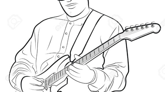 570x320 Man Playing Guitar Drawing Vector Illustration Of A Man Playing