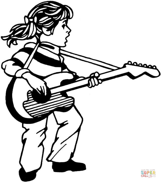 635x720 Guitar Coloring Page Free Printable Coloring Pages