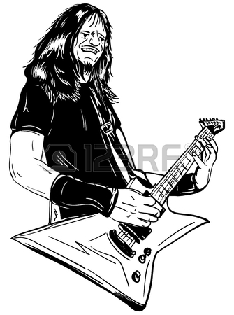 335x450 Hand Draw, Guitar Player Isolated On Background Royalty Free