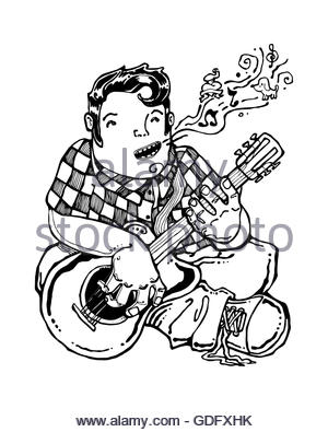 300x395 Musician, Guitar Player. An Hand Drawn And Colored Vector Stock