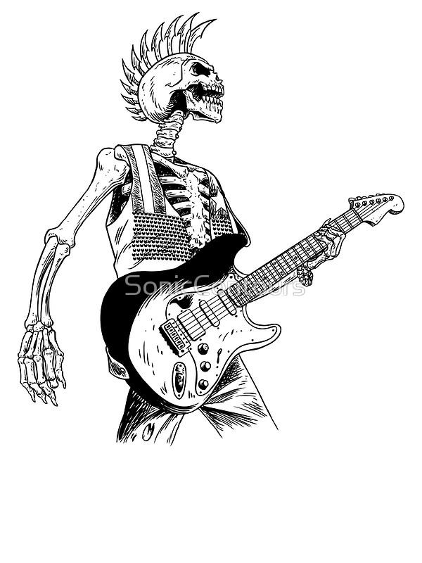 600x800 Skeleton Bones Dead Electric Guitar Player 2 Art Prints By