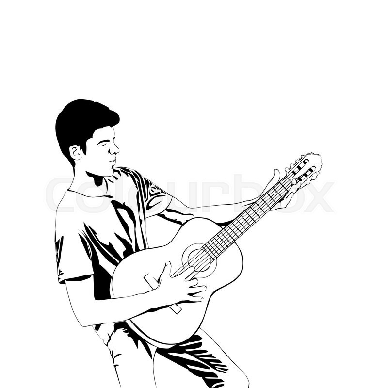 800x800 Young Man Playing The Guitar Man With Acoustic Guitar Line Art
