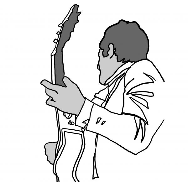600x581 Black And White Guitar Player