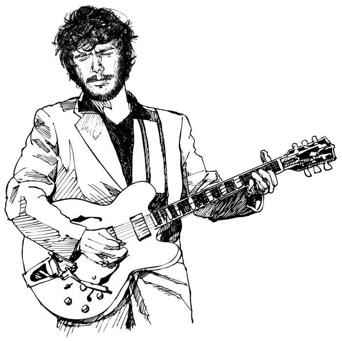 700x698 Ink Drawing Vector Illustration Of A Guitar Player Poster Pixers