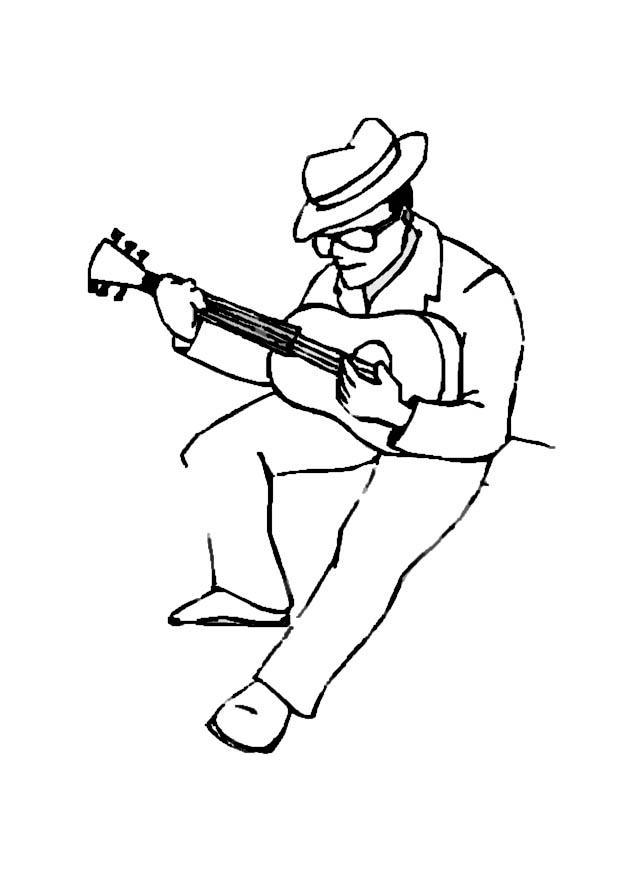 620x875 Coloring Page Guitar Player