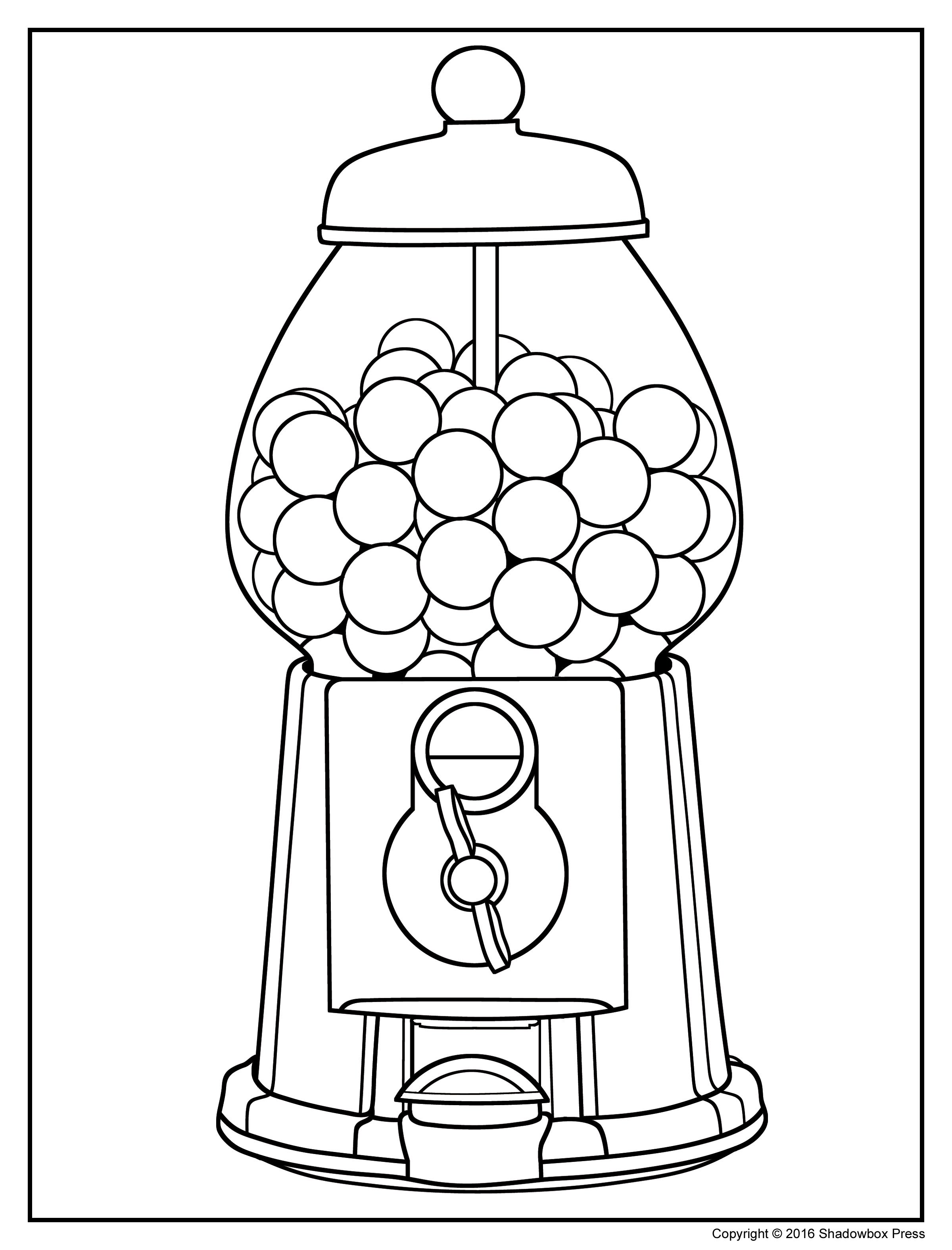 2400x3150 Clip Art Bubble Gum Machine Coloring Page Mycoloring Free Within