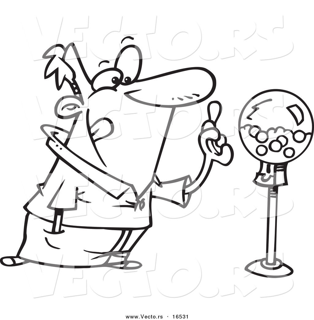 1024x1044 Vector Of A Cartoon Man Holding Gum By A Gumball Machine