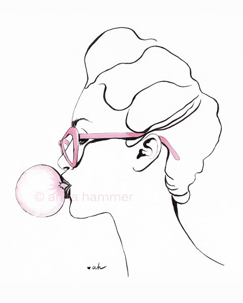 480x600 Bubble Gum Fashion Illustration Pen And Ink By Worksbyannahammer