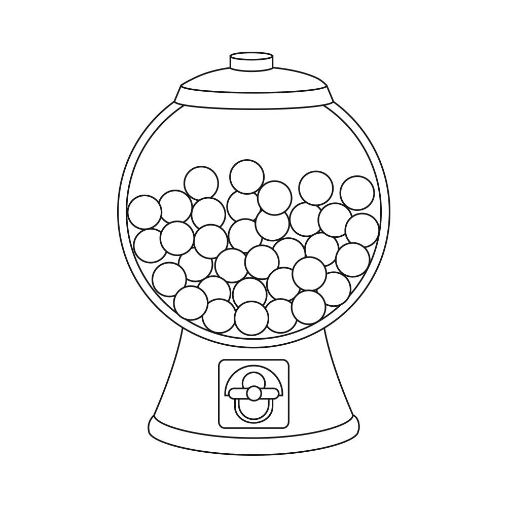 empty gumball machine coloring pages | Black And White Empty Gumball Machine Page Printable ...