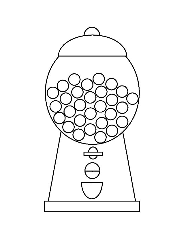 600x776 Bubble Gumball Machine Coloring Page Empty Gumball Machine