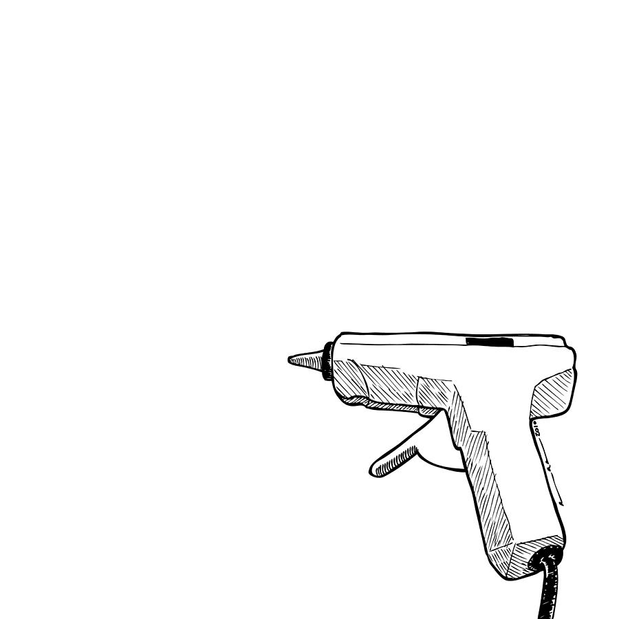 900x900 Glue Gun Drawing By Karl Addison