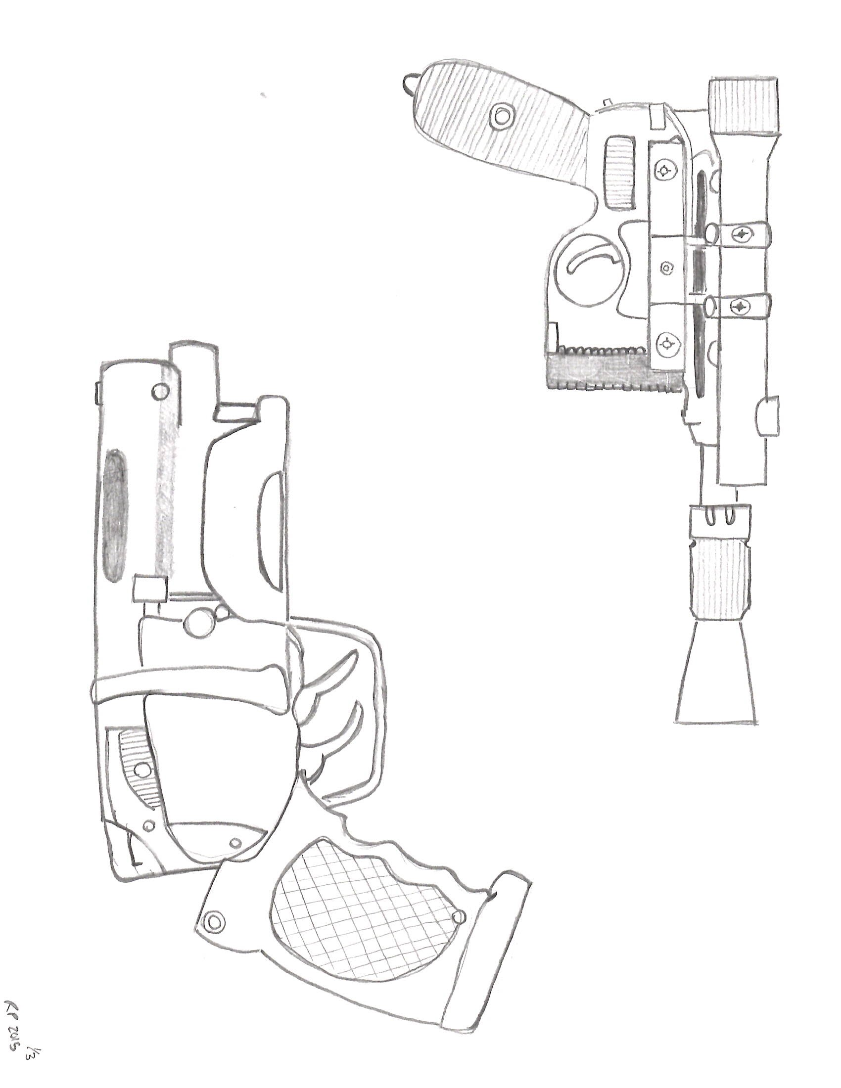 1700x2200 Sketches Of Famous Sci Fi Guns (Art By Bluntzilla53)