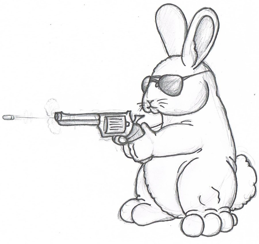 900x849 Bunny With A Gun By Wforwumbo