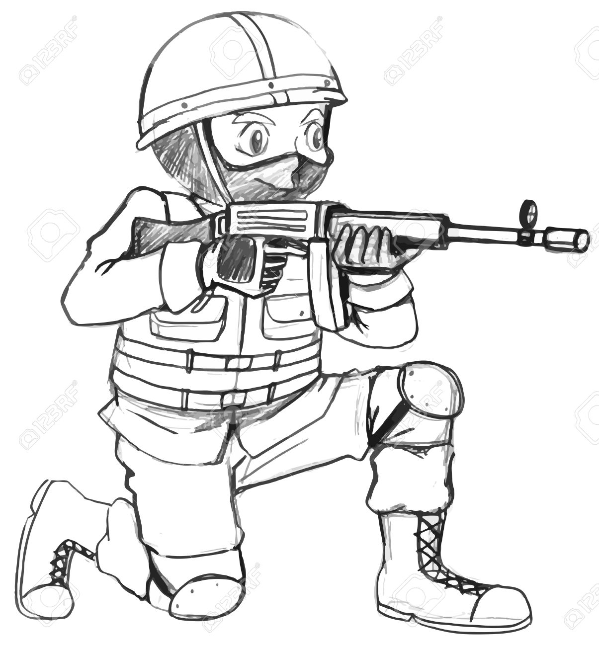 1205x1300 Illustration Of A Sketch Of A Soldier With A Gun On A White