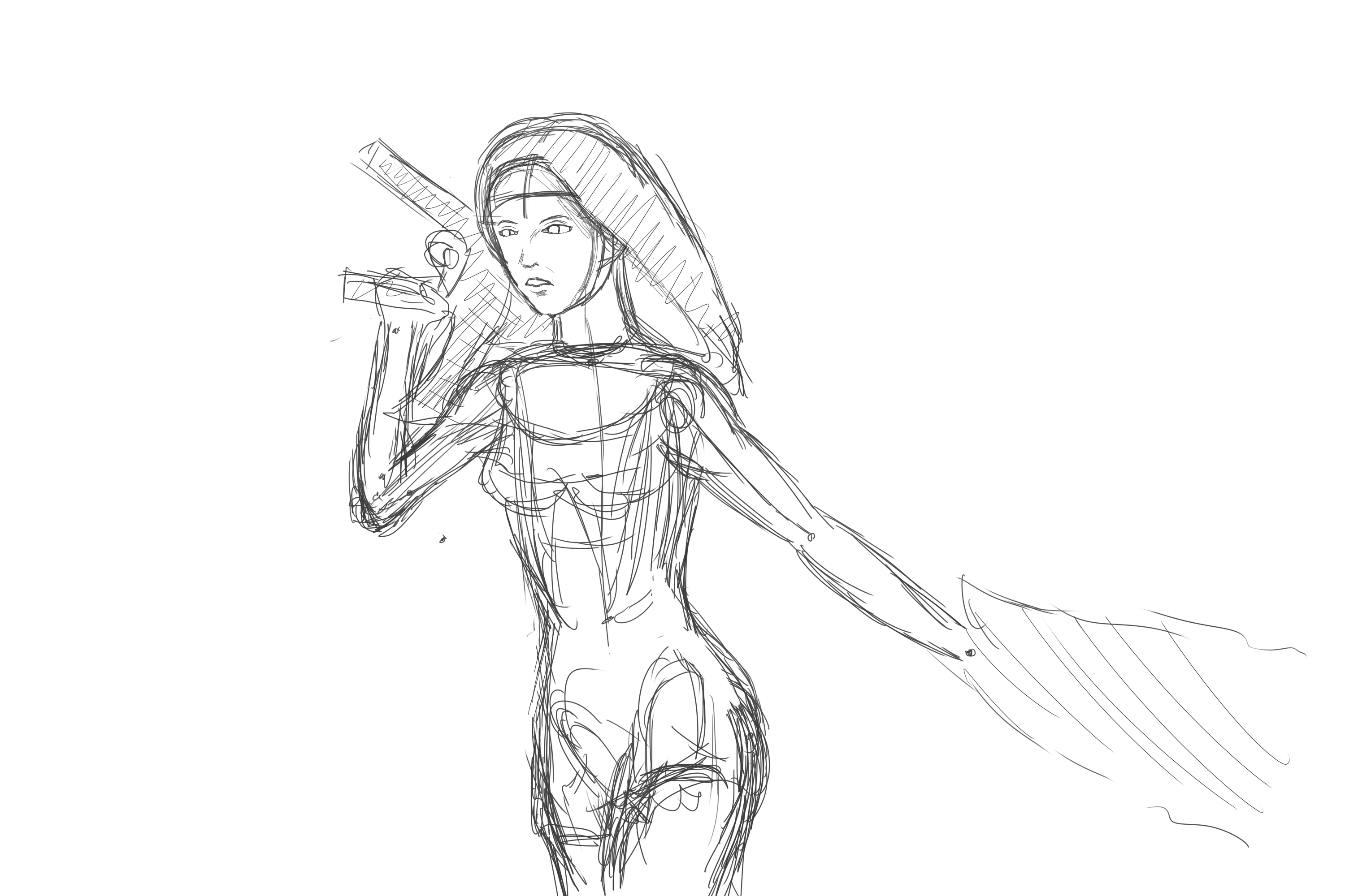3000x2000 Nun With A Gun Sketch (Wip) By A Girl In A Sweater